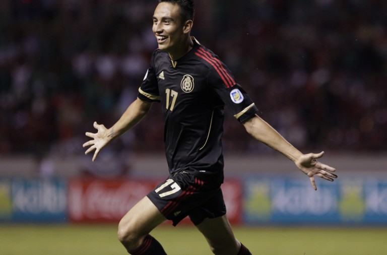 Jesus Zavala of Mexico celebrates after scoring a goal against Costa Rica in San Jose