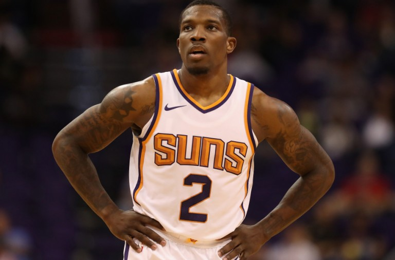 PHOENIX, AZ - OCTOBER 13:  Eric Bledsoe #2 of the Phoenix Suns during the second half of the NBA preseason game against the Brisbane Bullets at Talking Stick Resort Arena on October 13, 2017 in Phoenix, Arizona.  NOTE TO USER: User expressly acknowledges and agrees that, by downloading and or using this photograph, User is consenting to the terms and conditions of the Getty Images License Agreement.  (Photo by Christian Petersen/Getty Images)
