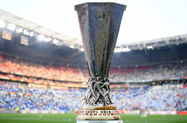 LYON, FRANCE - MAY 16:  A detailed view of the trophy ahead of the UEFA Europa League Final between Olympique de Marseille and Club Atletico de Madrid at Stade de Lyon on May 16, 2018 in Lyon, France.  (Photo by Matthias Hangst/Getty Images)