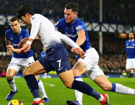 during the Premier League match between Everton FC and Tottenham Hotspur at Goodison Park on December 23, 2018 in Liverpool, United Kingdom.